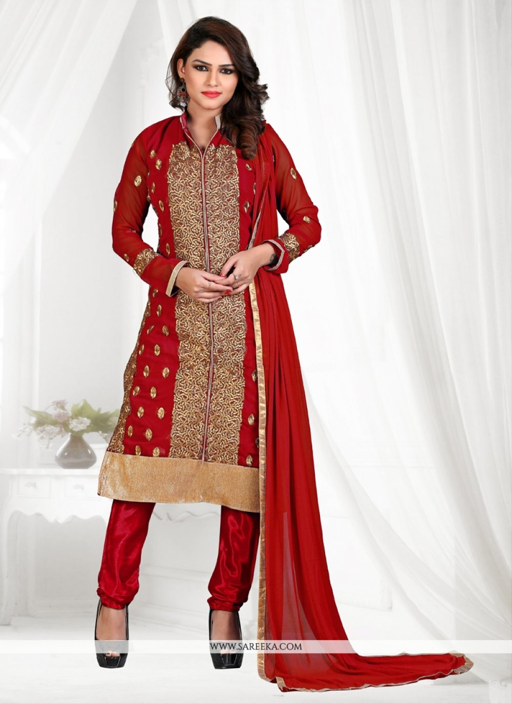 Red Lace Work Georgette Churidar Suit