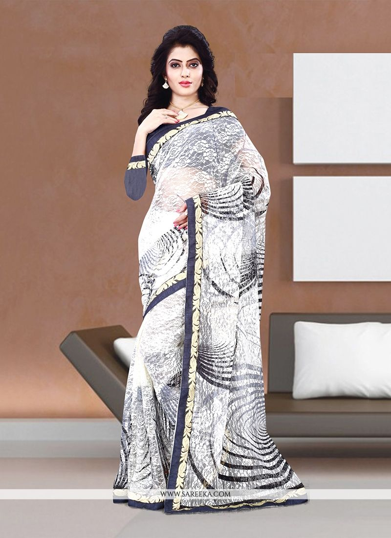 Off White Net Casual Saree