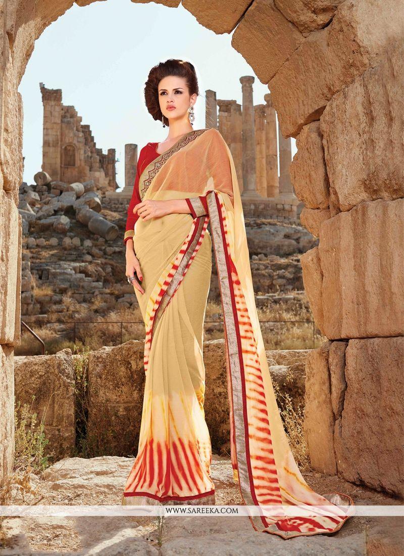Faux Chiffon Patch Border Work Designer Saree
