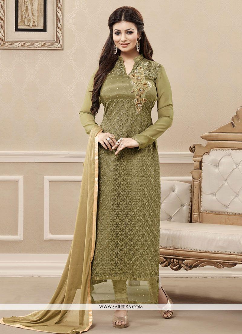 Net Green Embroidered Work Designer Straight Salwar Kameez