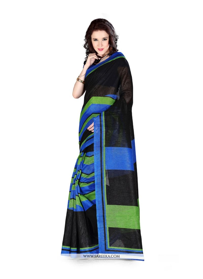 Print Work Black Art Silk Casual Saree