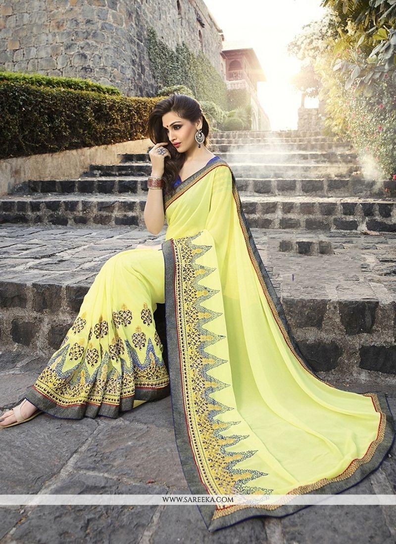 Jacquard Yellow Designer Saree