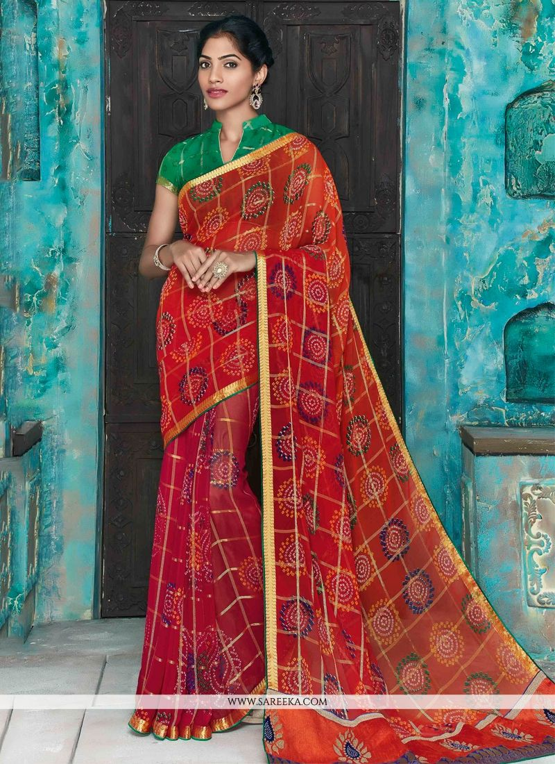 Magenta and Orange Patch Border Work Faux Chiffon Designer Saree