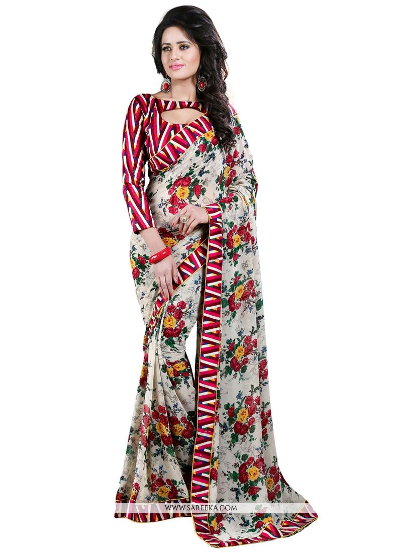 Patch Border Work Multi Colour Casual Saree