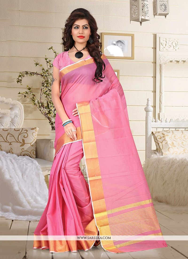 Cotton   Pink Casual Saree
