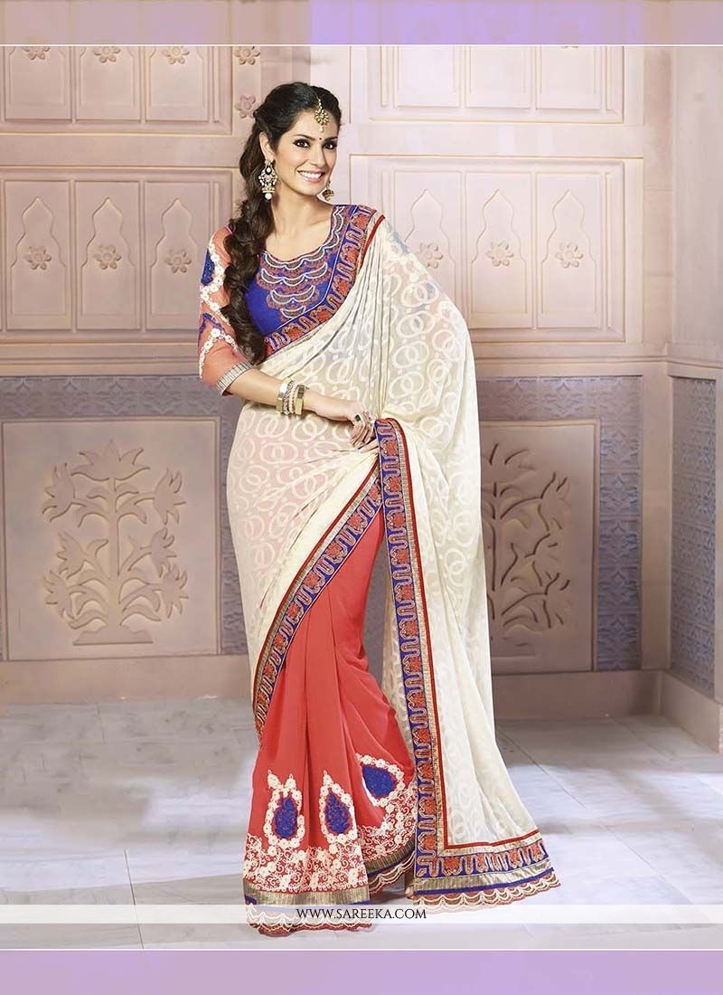 Georgette Off White Patch Border Work Classic Designer Saree