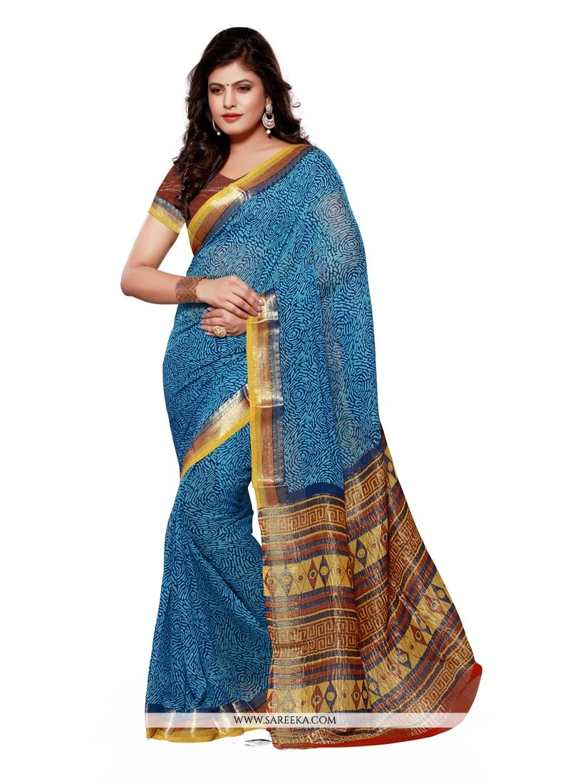 Jacquard Blue Patch Border Work Designer Saree
