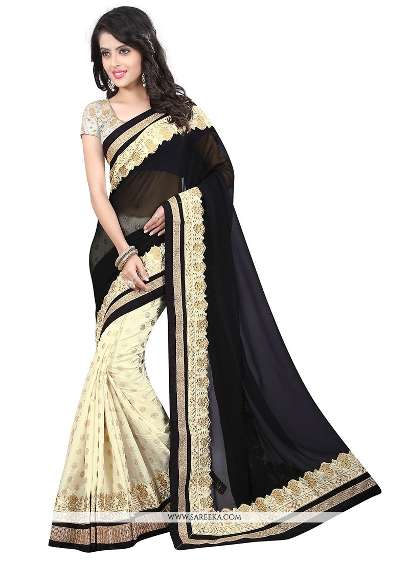Georgette Black Designer Saree
