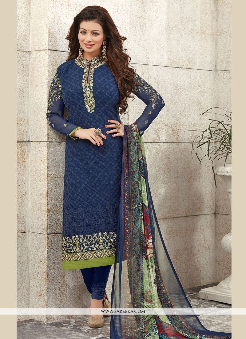 Print Work Georgette Navy Blue Churidar Designer Suit
