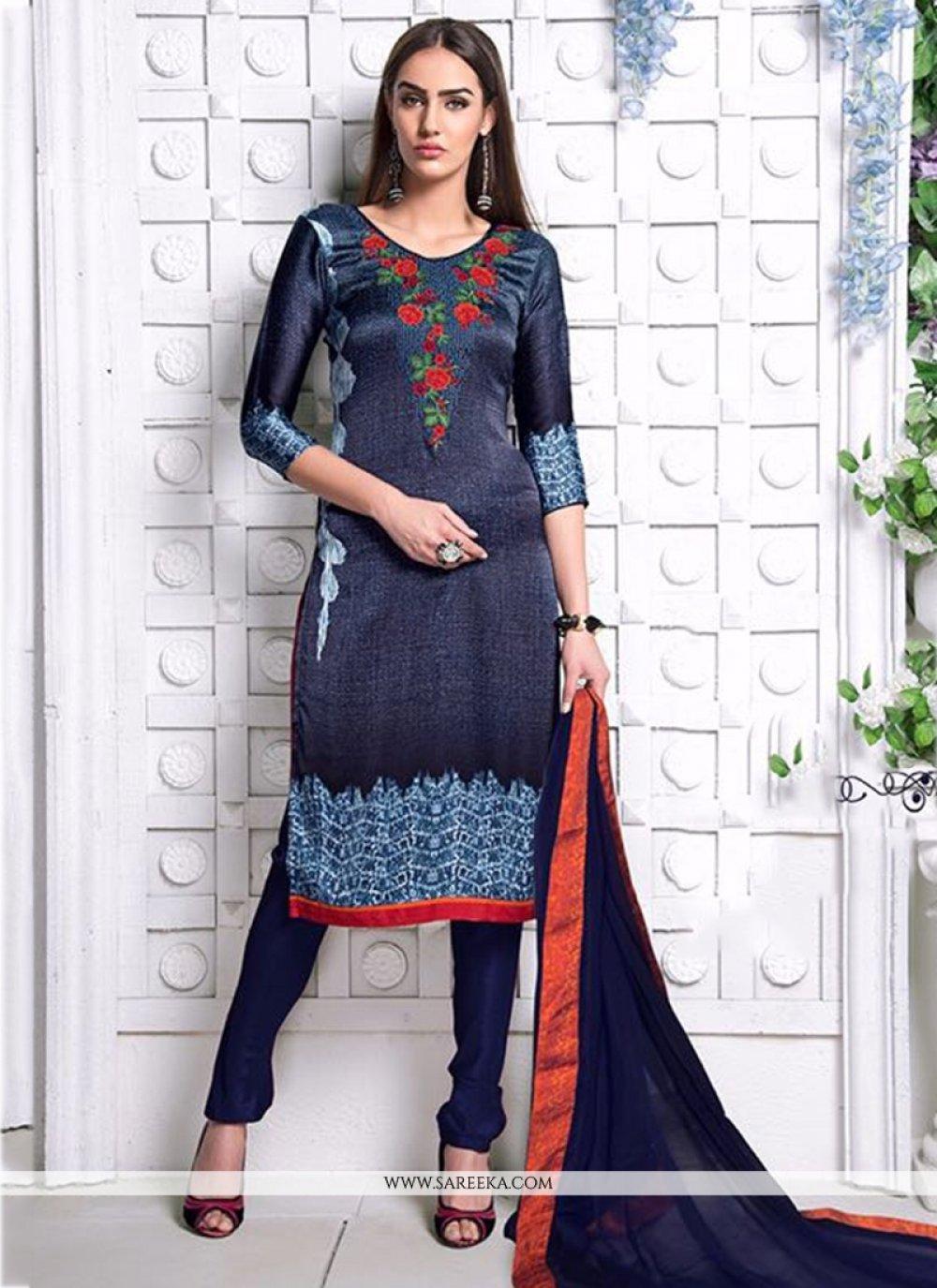 Satin Navy Blue Digital Print Work Churidar Designer Suit