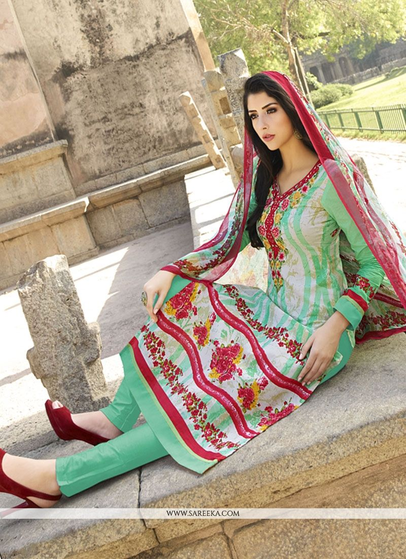 Red and Sea Green Embroidered Work Cotton   Churidar Designer Suit