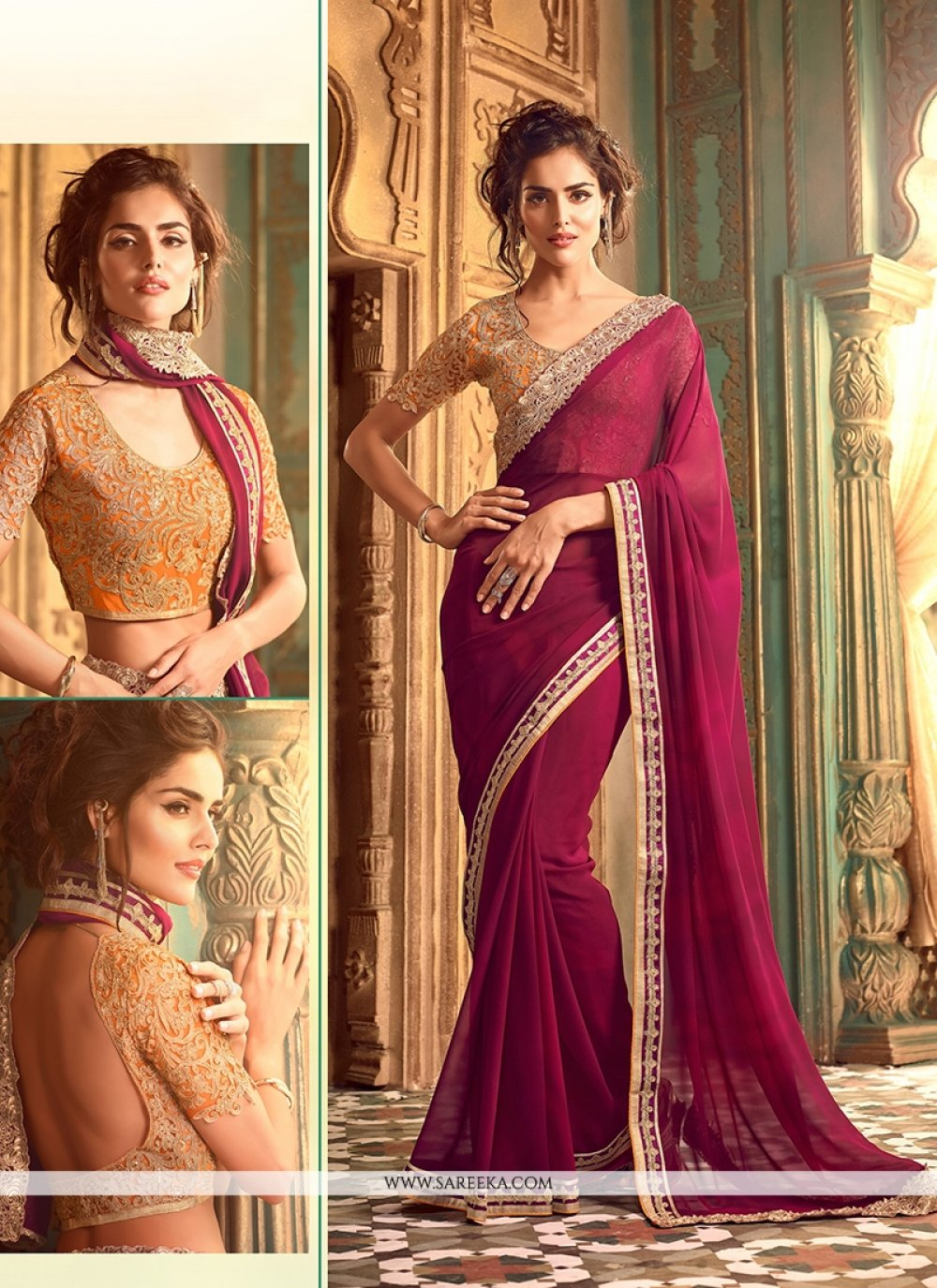 Wine Embroidered Work Georgette Classic Saree