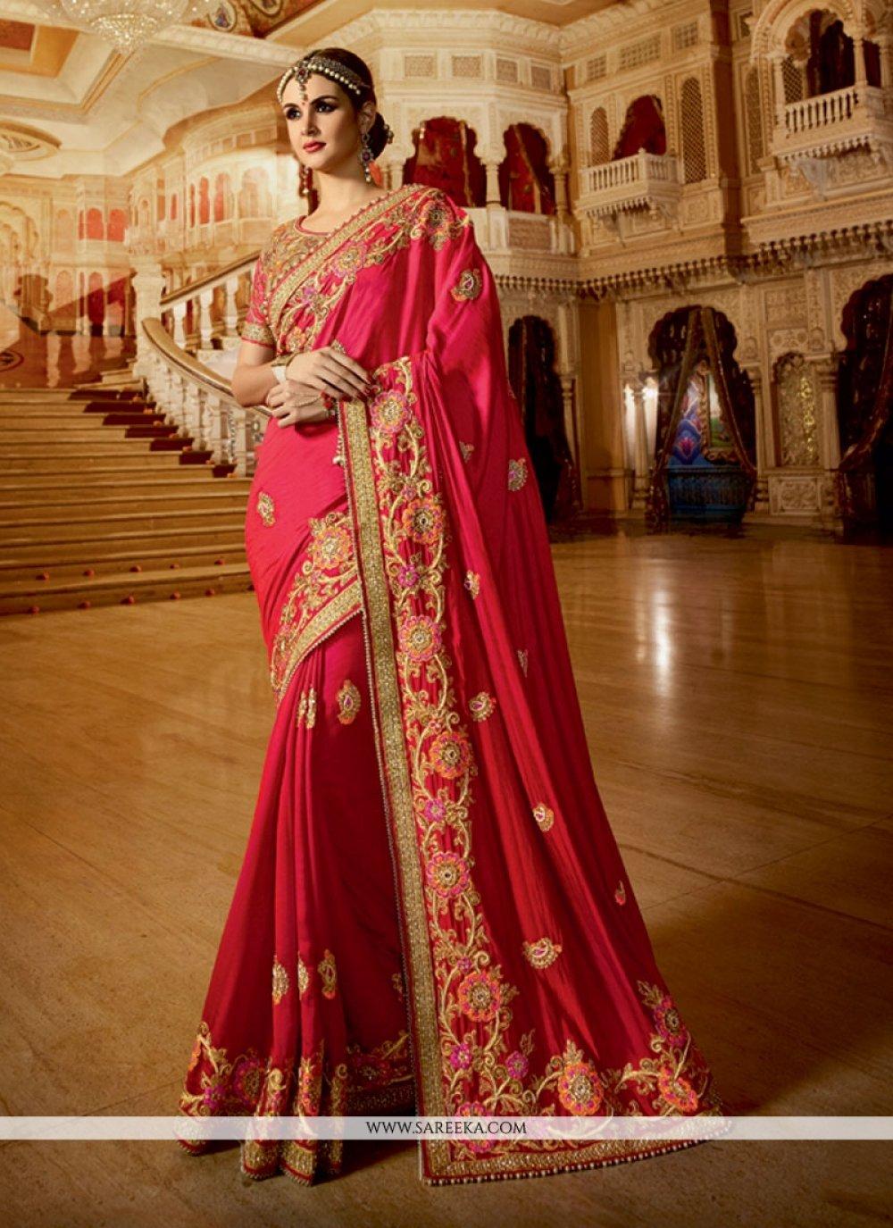 Chiffon Satin Hot Pink Embroidered Work Classic Designer Saree