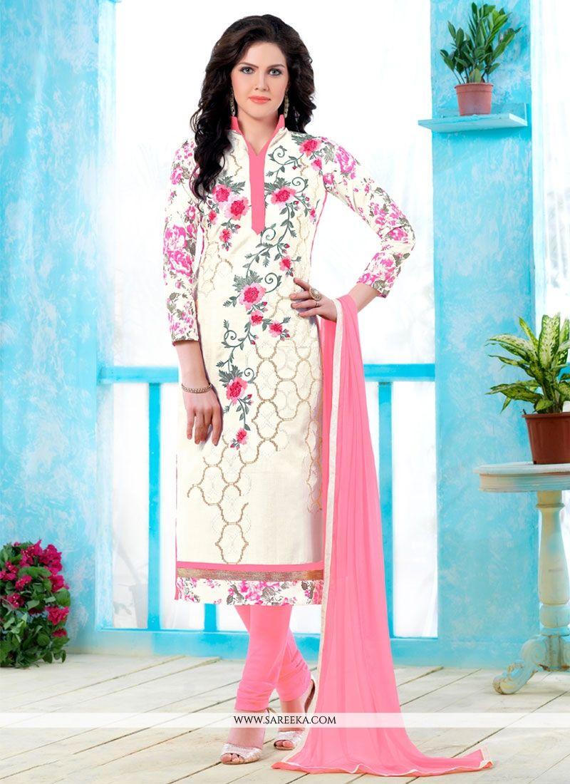 Cotton   Cream Churidar Designer Suit