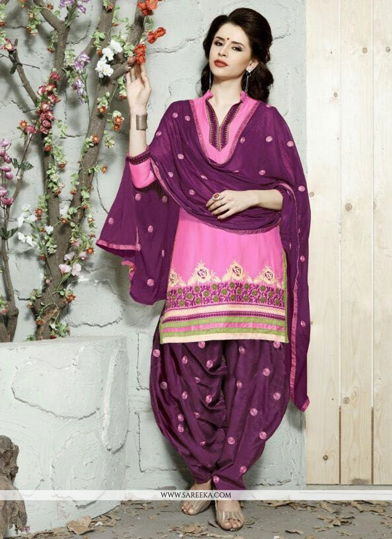 Cotton   Resham Work Trendy Punjabi Churidar Suit