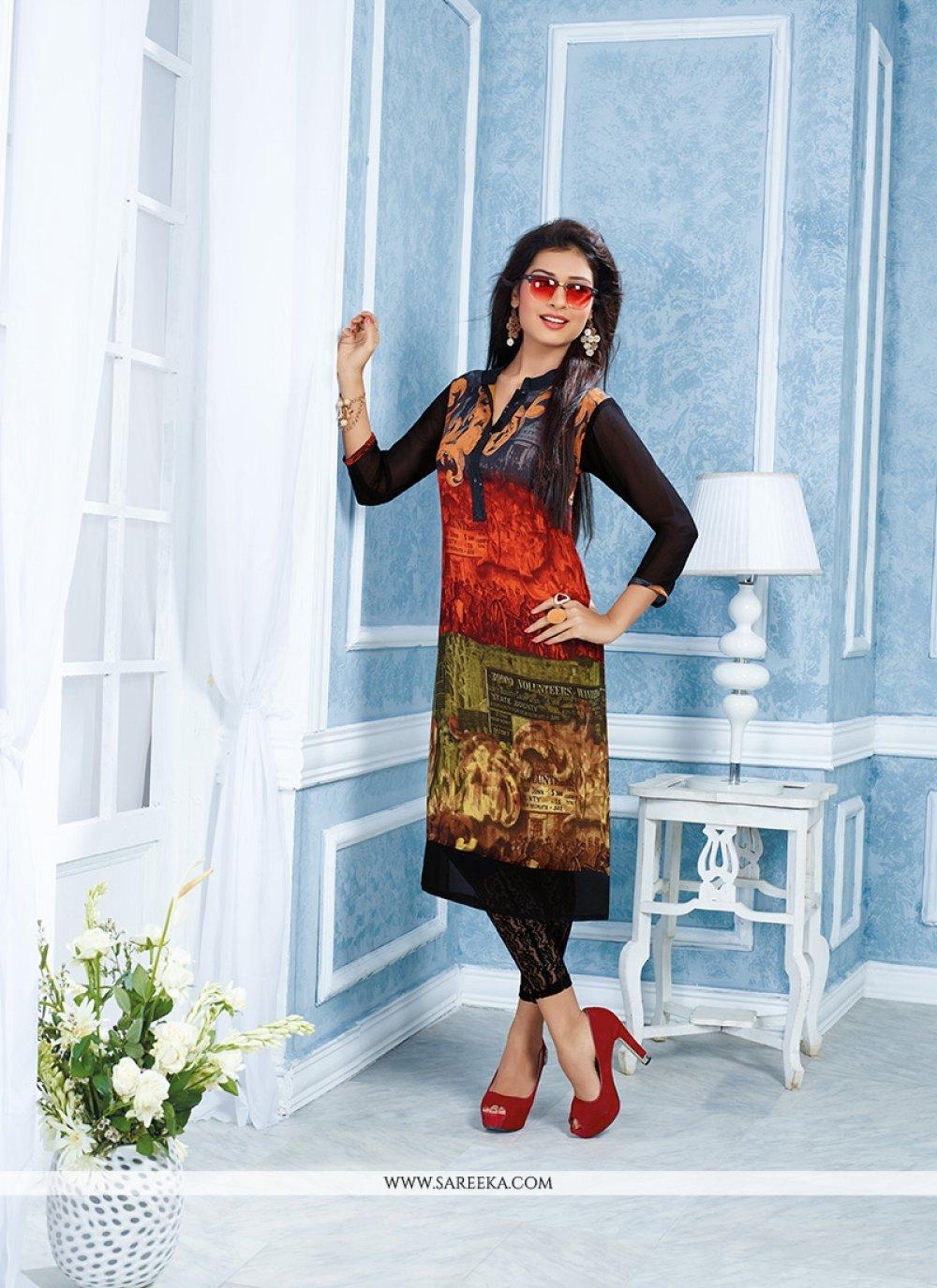Georgette Multi Colour Party Wear Kurti