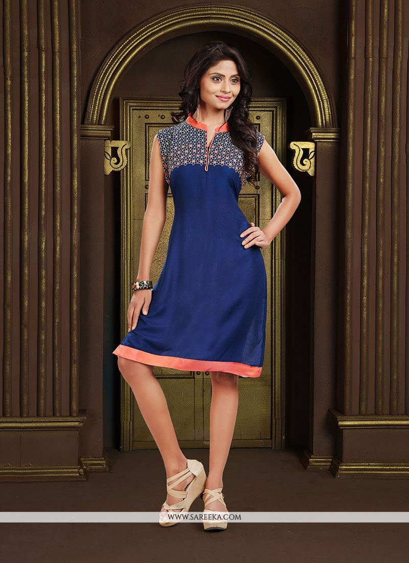 Navy Blue Party Wear Kurti