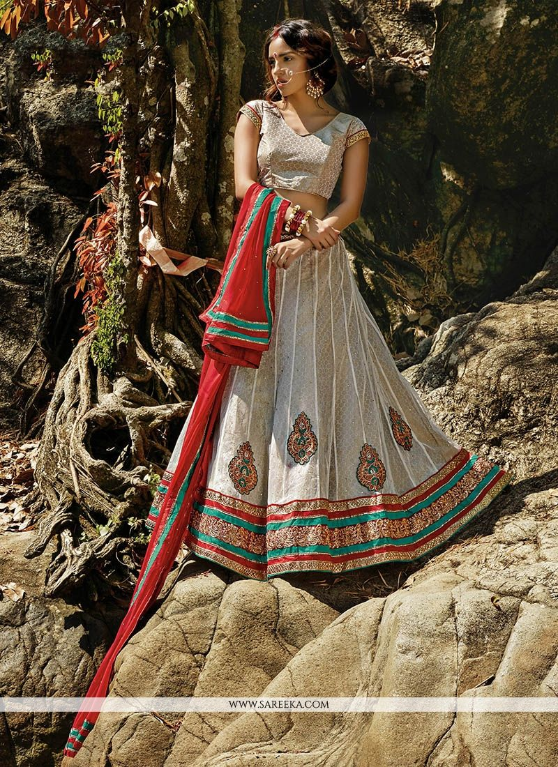 Off White Embroidered Work Net A Line Lehenga Choli
