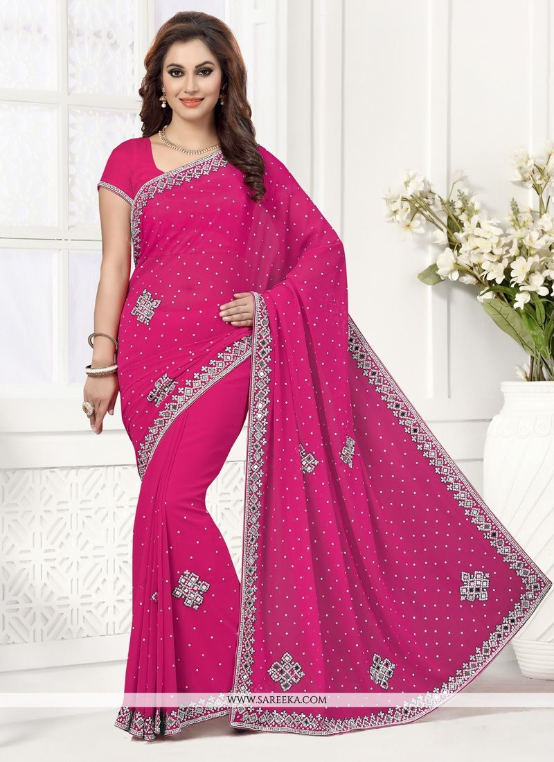 8b77c136d4164 Buy Georgette Hot Pink Designer Saree Online   India -