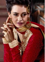 Georgette Red Anarkali Salwar Kameez