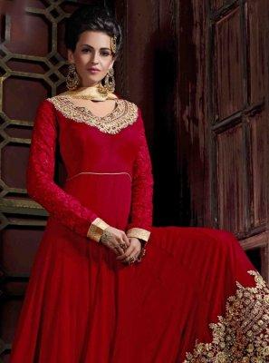 Georgette Red Anarkali Salwar Kameez