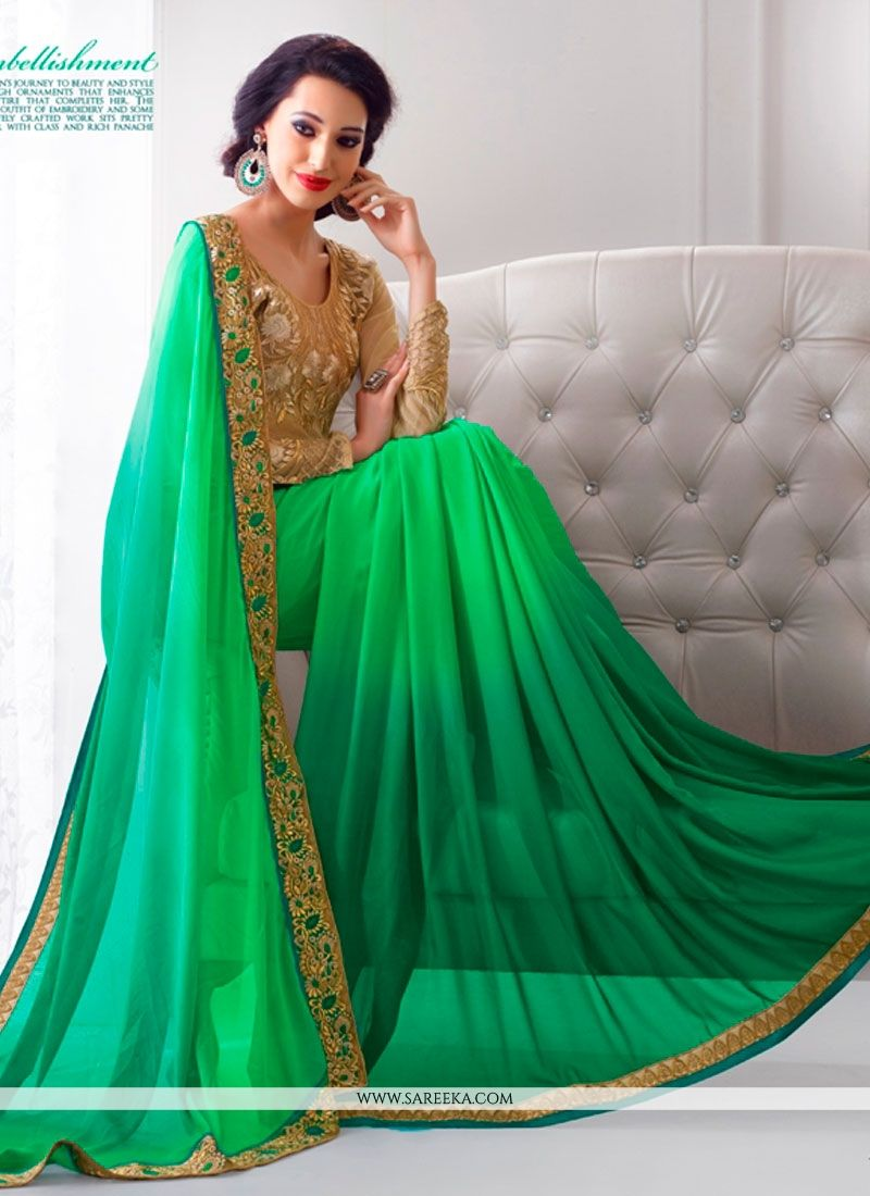 Green Embroidered Work Georgette Designer Saree