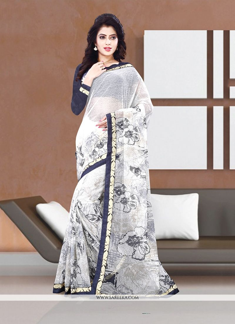 Off White Print Work Handloom silk Casual Saree