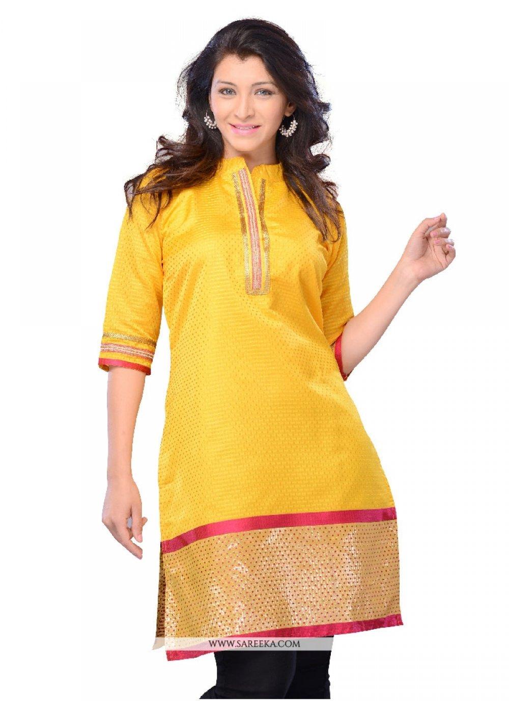 Yellow Art Silk Casual Kurti