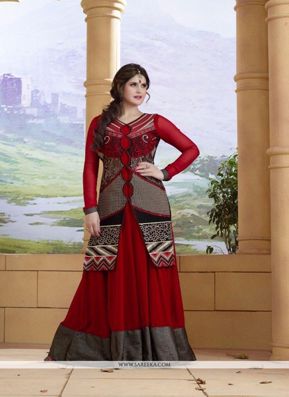 Zarine Khan Georgette Anarkali Salwar Kameez