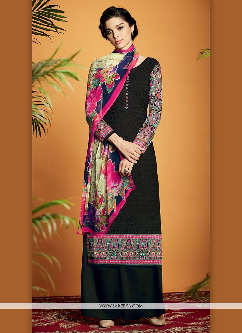 Cotton Satin Black Designer Suit