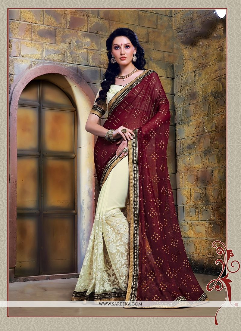 Cream and Maroon Designer Saree