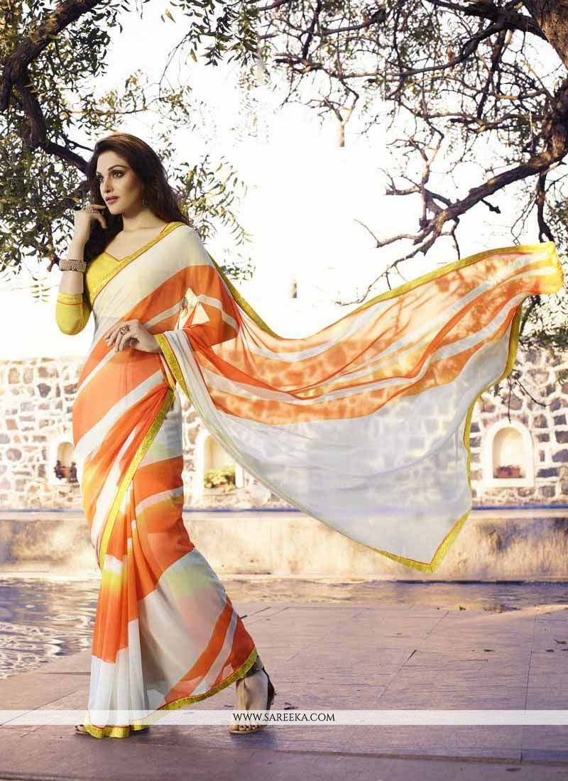 Off White Print Work Georgette Casual Saree