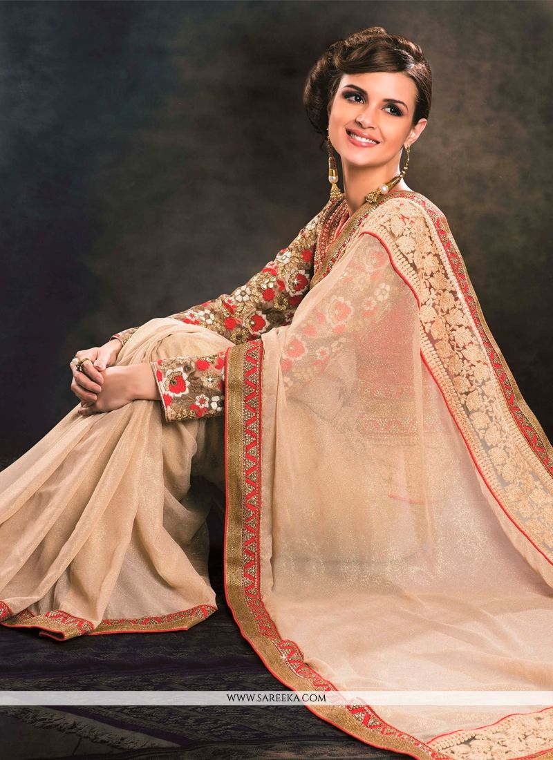 Patch Border Work Beige Classic Designer Saree