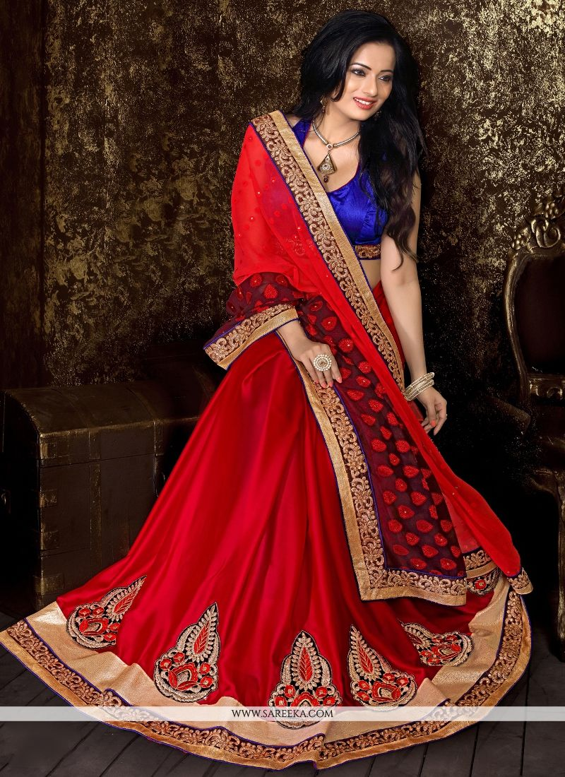 Red Georgette Designer Half N Half saree