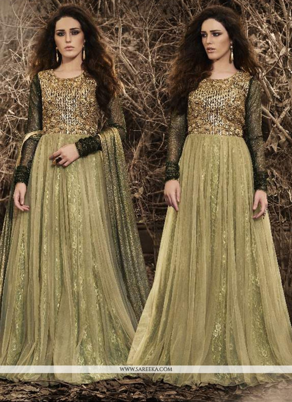 Resham Work Beige Designer Floor Length Suit