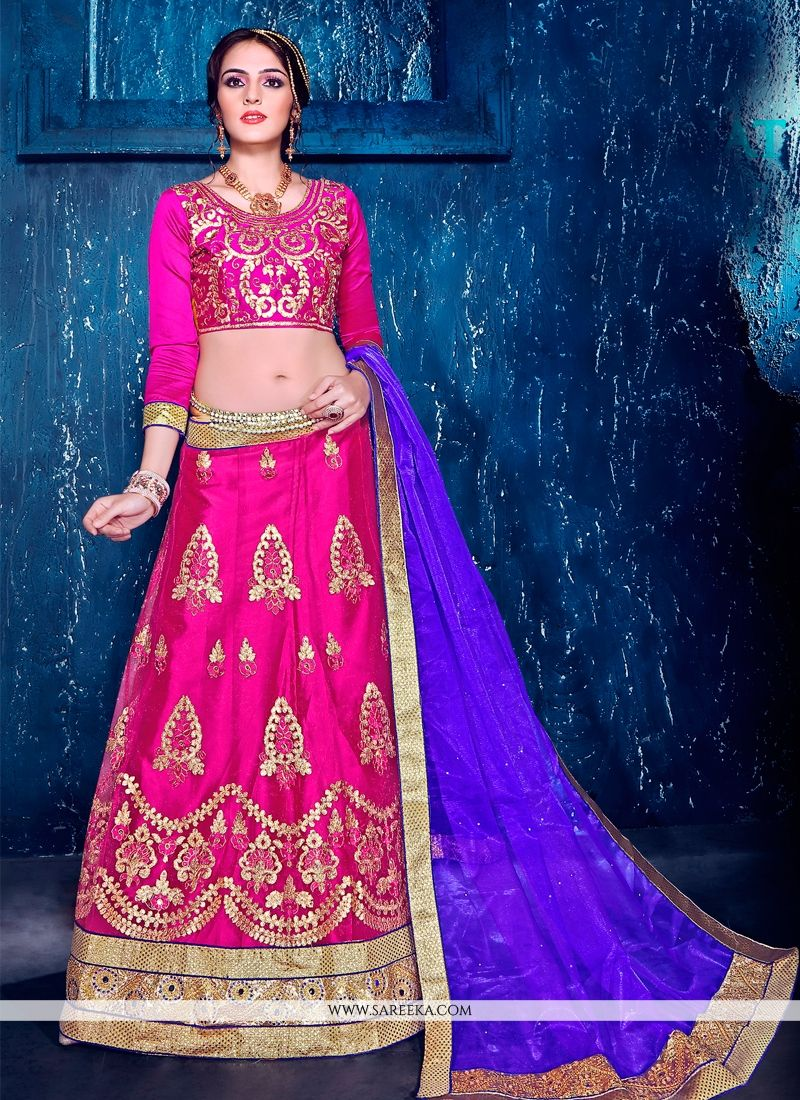 Satin Hot Pink Patch Border Work A Line Lehenga Choli