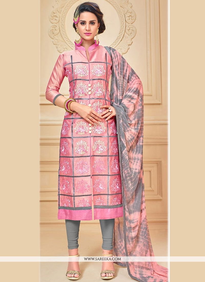 Chanderi Cotton Pink Embroidered Work Churidar Suit
