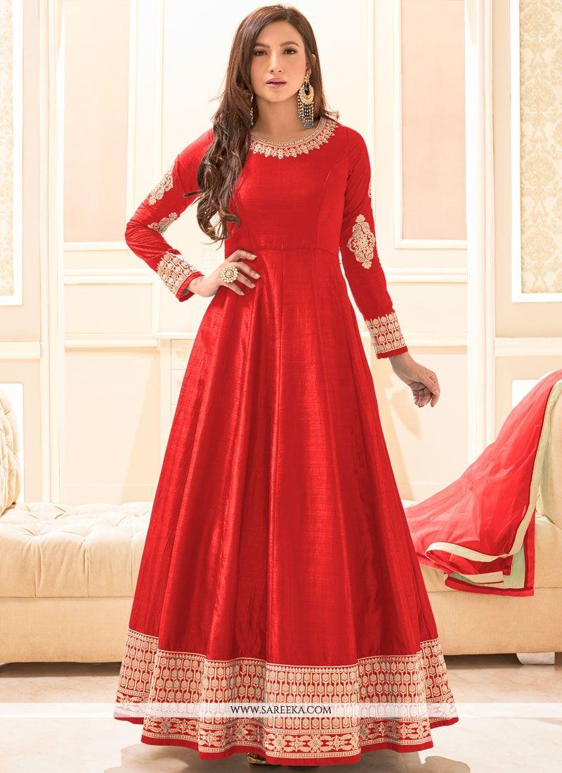 Buy Art Silk Red Embroidered Work Floor Length Anarkali Suit ...