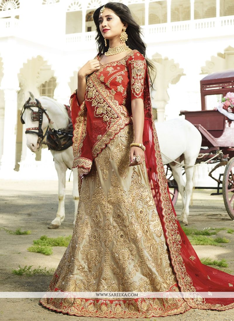 Resham Work Satin Silk Lehenga Choli