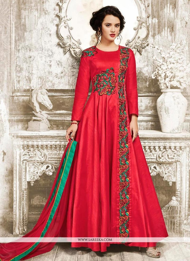 Embroidered Work Red Faux Georgette Floor Length Anarkali Suit