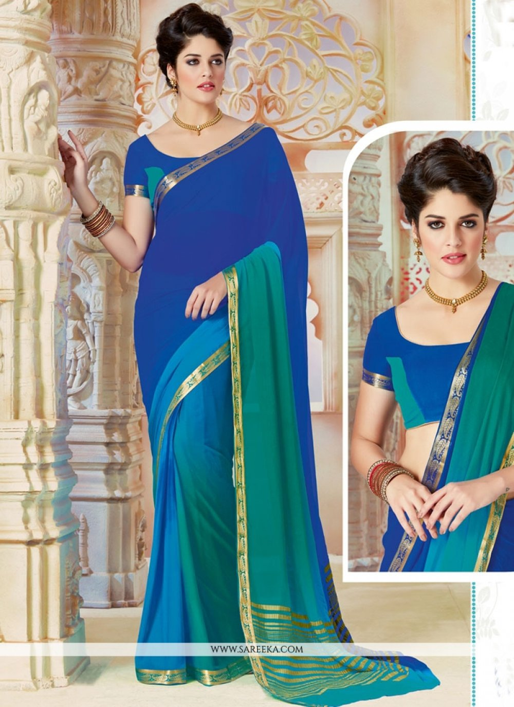 Lace Work Shaded Saree