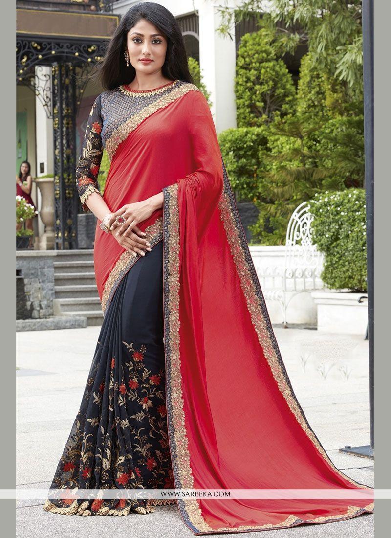 5542301bb2 Buy Navy Blue and Red Designer Half N Half Saree Online : USA, UK -