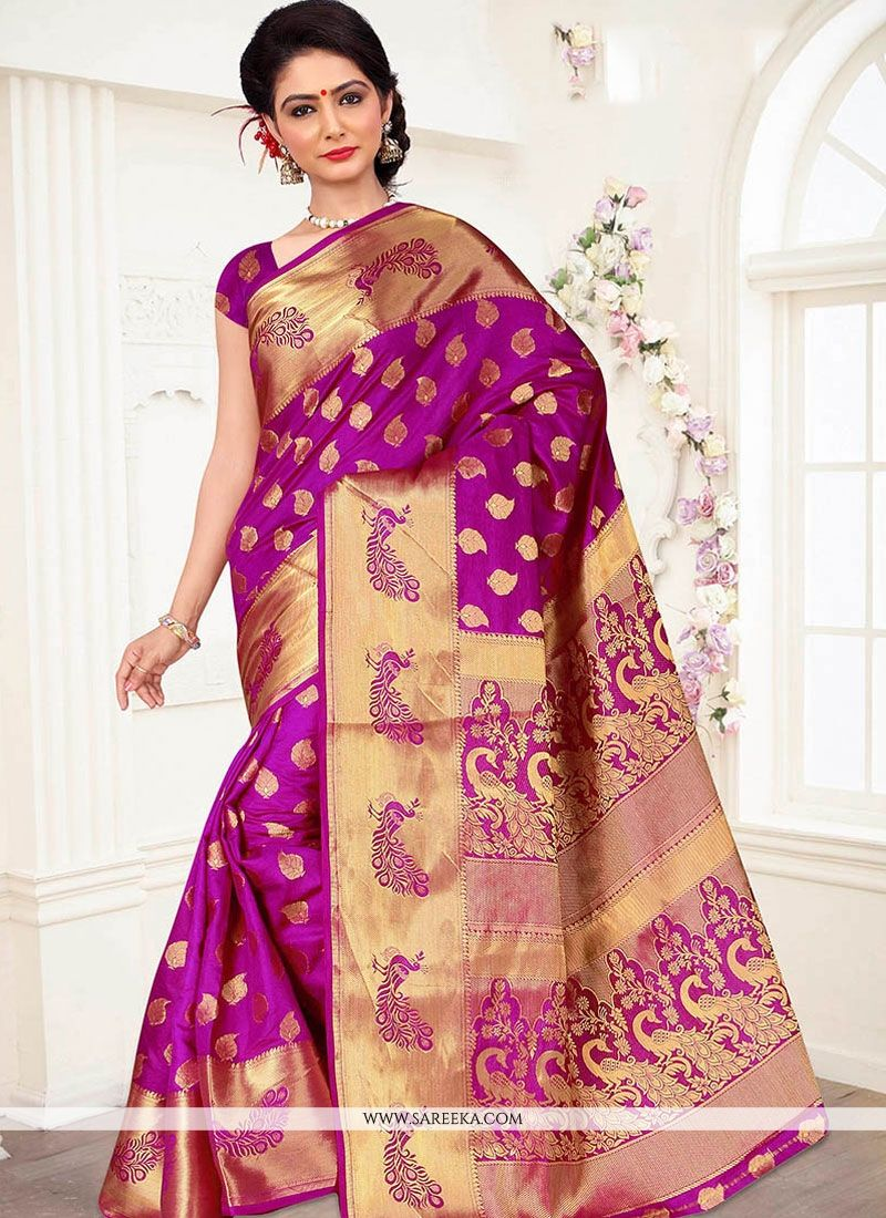 Weaving Work Magenta Traditional Designer Saree