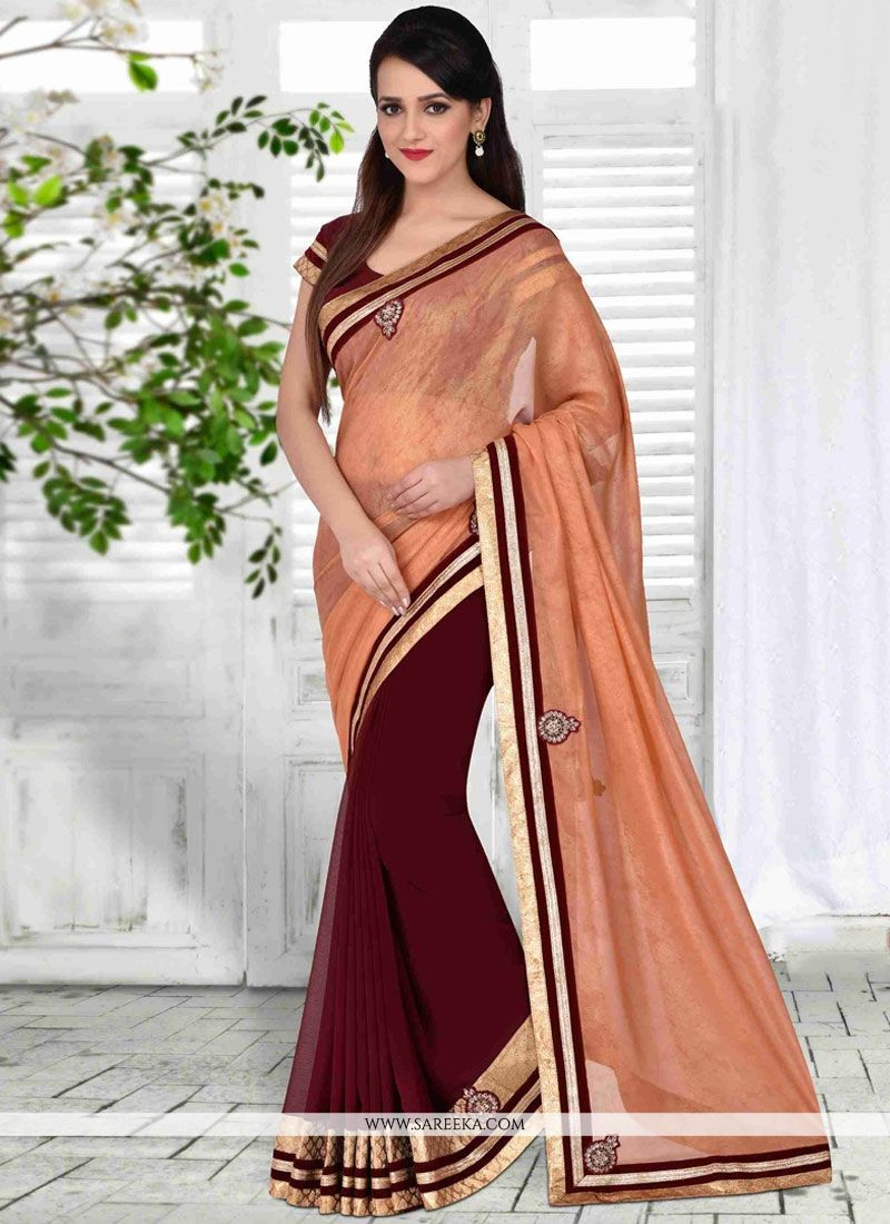 Faux Georgette Embroidered Work Half N Half  Saree