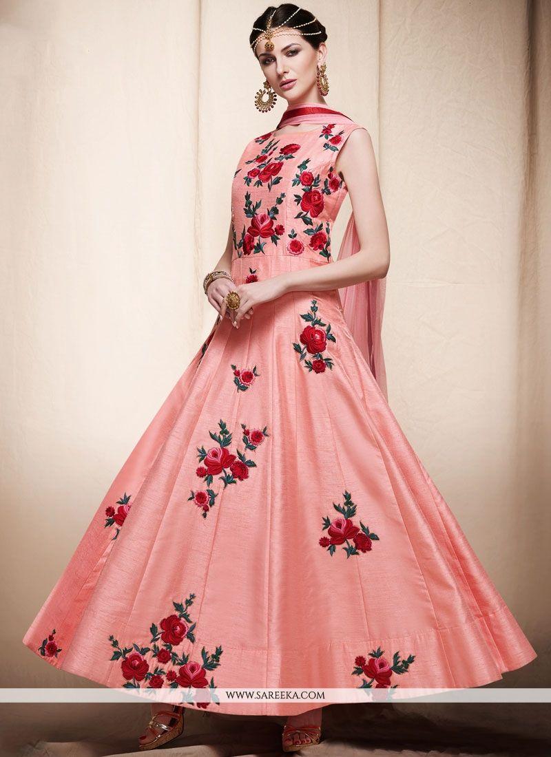 Art Silk Pink Resham Work Readymade Anarkali Suit