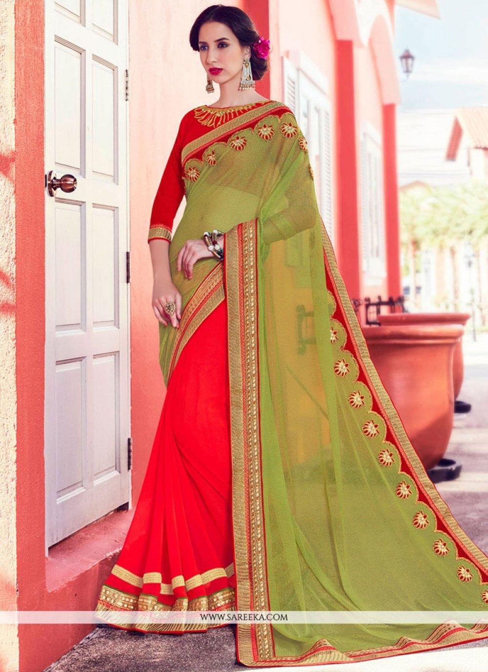 Green and Orange Half N Half  Saree