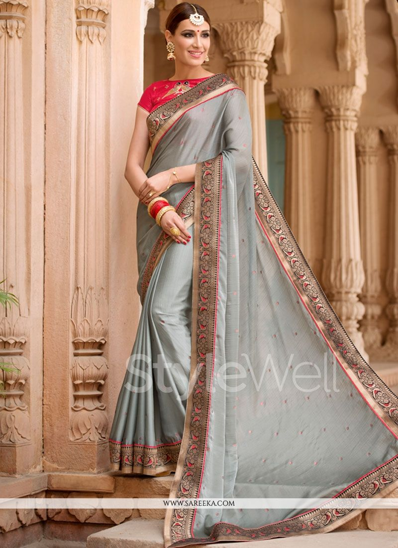 Stone Work Faux Chiffon Saree
