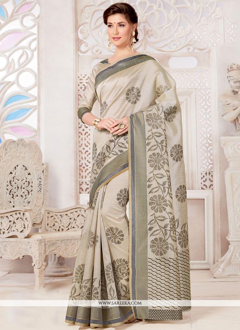 Tussar Silk Grey Casual Saree