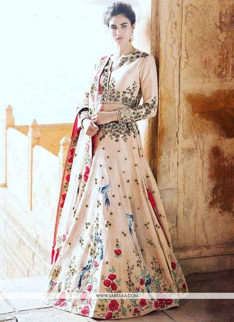 White Embroidered Work Art Silk Lehenga Choli