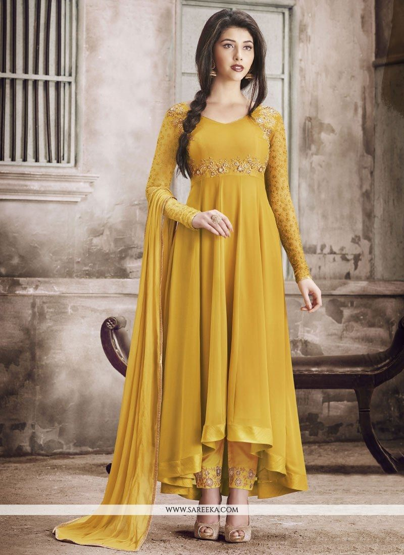42506091c9 Buy Yellow Embroidered Work Anarkali Suit Online : UK, USA, Canada,  Australia -
